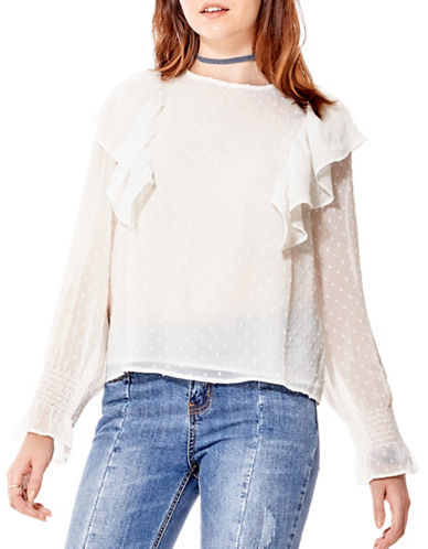 California Moonrise Chiffon Blouse-WHITE-Large