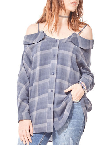 California Moonrise Cold Shoulder Cotton Button-Down Shirt-BLUE-Large