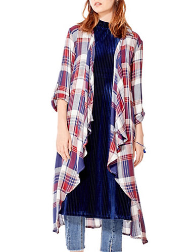 California Moonrise Plaid Long Cardigan-BLUE MULTI-Small