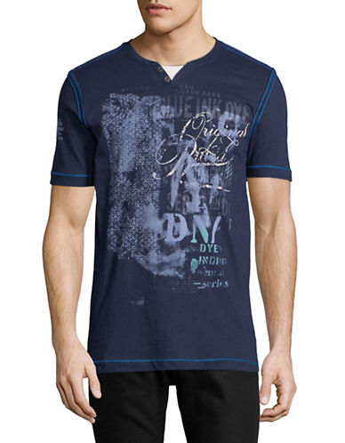 Point Zero Short-Sleeve Cotton Henley-BLUE-X-Large