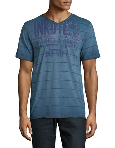 Point Zero Short-Sleeve Burnout Cotton Tee-BLUE-Large