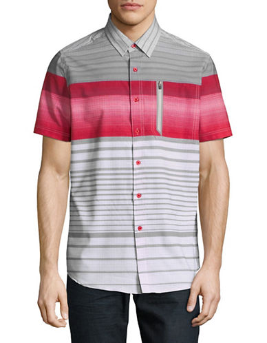 Point Zero Printed Stretch Sport Shirt-RED-Small