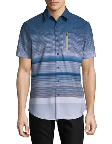 Point Zero Printed Stretch Sport Shirt-BLUE-Small