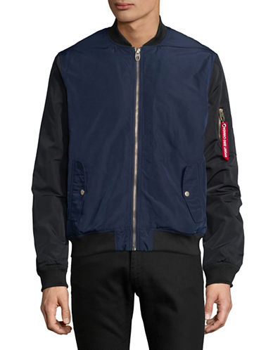 Point Zero Light Weight Bomber Jacket-BLUE-Medium