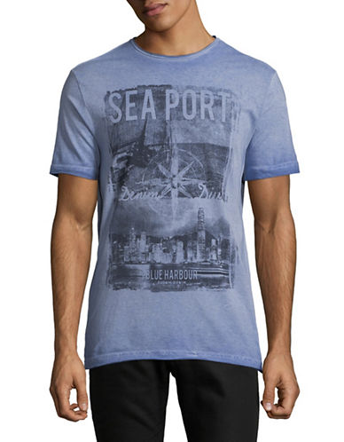 Point Zero Short-Sleeve Cotton Tee-BLUE-Medium