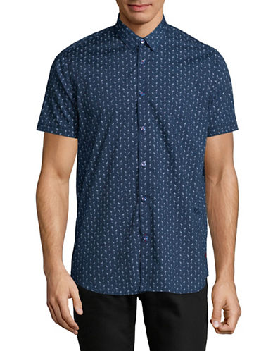 Point Zero Easy Iron Flamingo Print Shirt-BLUE-X-Large