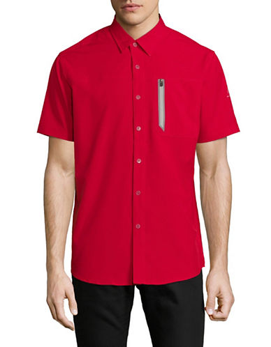 Point Zero Four-Way Stretch Sport Shirt-RED-Large