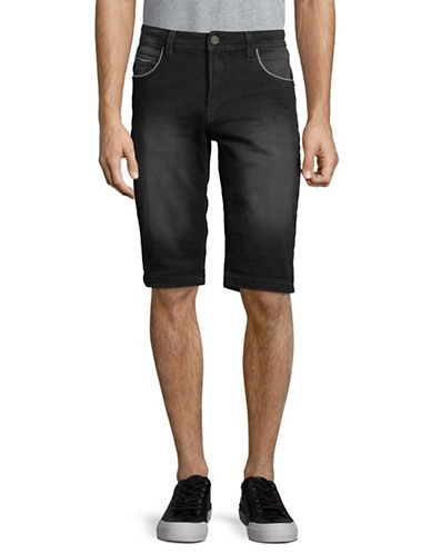 Point Zero Hybrid Sweat Denim Shorts-BLACK-36