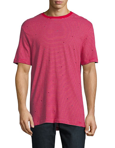 Point Zero Striped Cotton T-Shirt-RED-Medium 89955377_RED_Medium