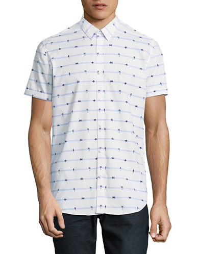Point Zero Printed Short-Sleeve Sport Shirt-NATURAL-Small