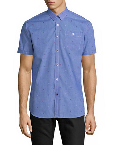 Point Zero Micro Diamond Short-Sleeve Sport Shirt-BLUE-Medium
