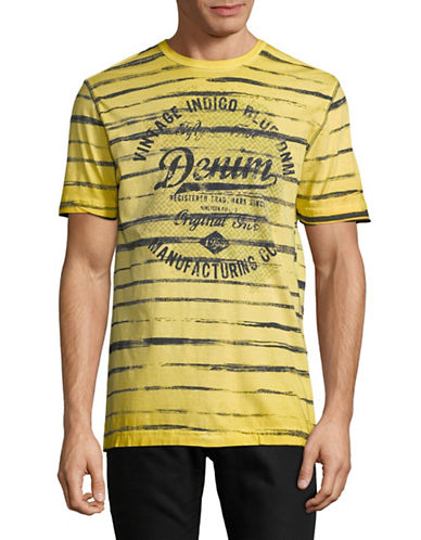 Point Zero Striped Short-Sleeve Cotton Tee-YELLOW-Medium