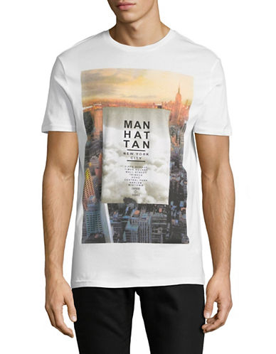 Point Zero Manhattan Short-Sleeve Cotton Tee-WHITE-Small