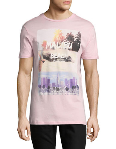 Point Zero Malibu Beach Short-Sleeve Cotton Tee-PINK-Medium