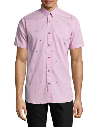 Point Zero Short-Sleeve Striped Sport Shirt-PINK-Medium