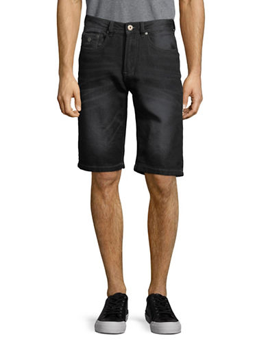 Point Zero Classic Knit Denim Shorts-BLACK-30