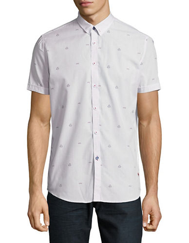 Point Zero Micro Check Short-Sleeve Sport Shirt-NATURAL-Small
