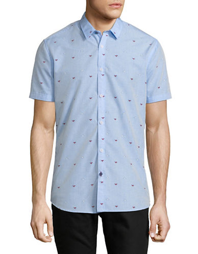 Point Zero Printed Short-Sleeve Sport Shirt-BLUE-X-Large