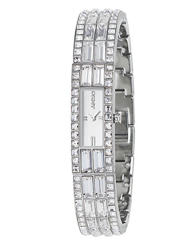 DKNY Ladies BaggetteCrystal Cuff Fashion Watch silver