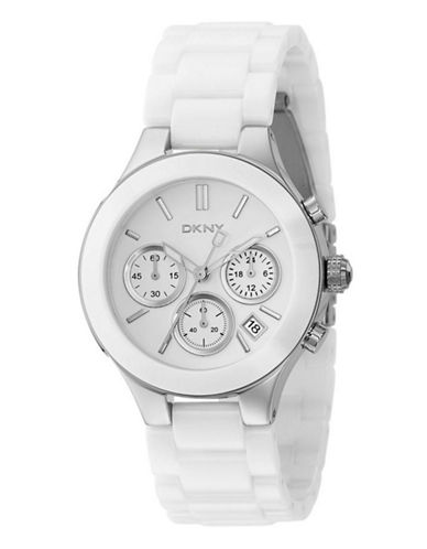 Dkny Large Chronograph White Ceramic Watch-WHITE-One Size