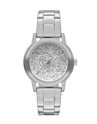 Dkny Women's Stainless Steel Analog With Pave Dial Watch silver One Size