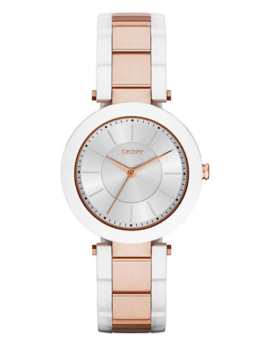 Dkny Womens Stanhope White Ceramic & Rose Gold-tone Watch NY2290-WHITE/ ROSE GOLD-One Size