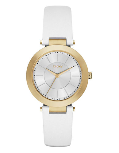 Dkny Womens Stanhope White Leather Watch NY2295-WHITE-One Size
