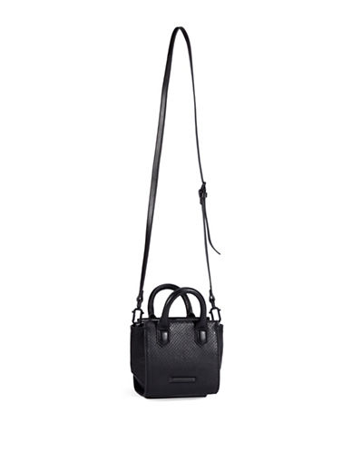Kendall + Kylie Brook Leather and Suede Crossbody Nano Satchel-BLACK-One Size