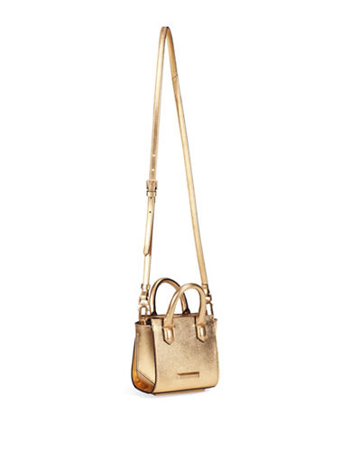 Kendall + Kylie Brook Leather and Suede Crossbody Nano Satchel-GOLD-One Size