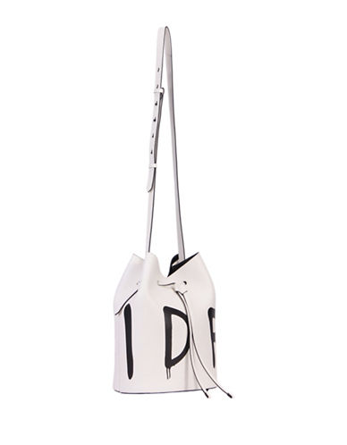 Kendall + Kylie Ladie Slang Leather Drawstring Bucket Bag-WHITE-One Size