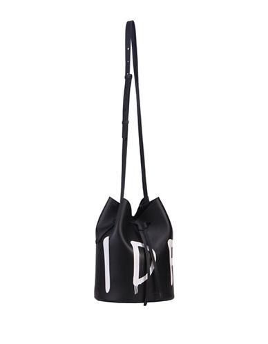 Kendall + Kylie Ladie Slang Leather Drawstring Bucket Bag-BLACK-One Size