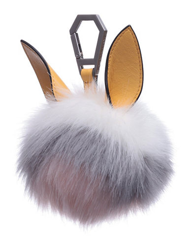 Kendall + Kylie Bee Multi-Toned Faux Fur and Leather Dog Charm-WHITE-One Size