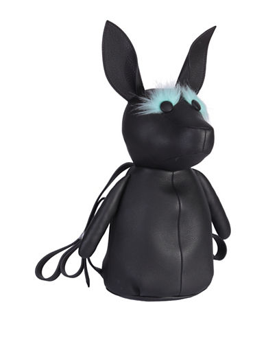 Kendall + Kylie Pebble Leather and Faux Fur Normie Dog Backpack-BLACK-One Size