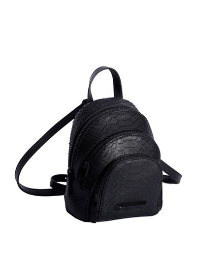 Kendall + Kylie Sloane Snake-Embossed Leather Nano Backpack-BLACK-One Size