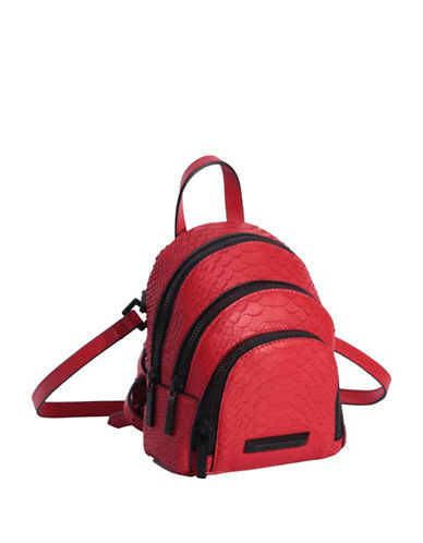 Kendall + Kylie Sloane Snake-Embossed Leather Nano Backpack-RED-One Size