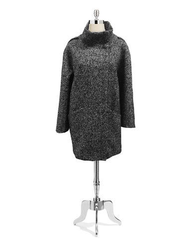Hilary Radley New York Stand Collar Raglan Sleeve Oversized Coat-BLACK/WHITE-12