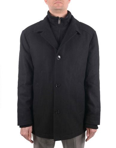 London Fog Wool Melton Commuter Coat-BLACK-Large
