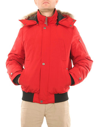 Company Of Adventurers Coyote Fur Down Bomber Jacket-RED-Small
