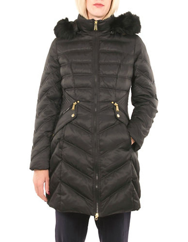 Laundry By Shelli Segal Mid Length Down Puffer Jacket-BLACK-Small 88523160_BLACK_Small