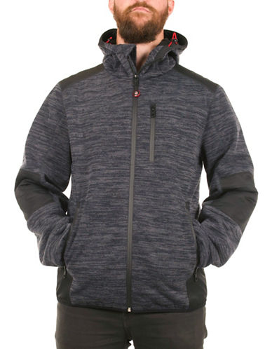 Halifax Traders Knit Bonded Fleece Jacket-NAVY-Medium