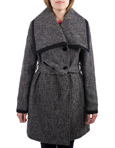 Laundry By Design Wing Collar Wrap Coat-BLACK/WHITE-Medium