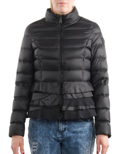 T Tahari Quilted Packable Peplum Jacket-BLACK-X-Small
