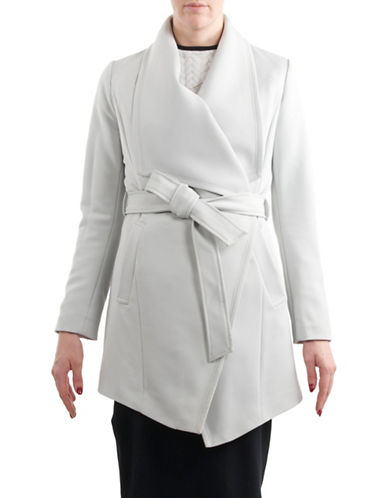 T Tahari Solid Crepe Coat-SILVER-Medium
