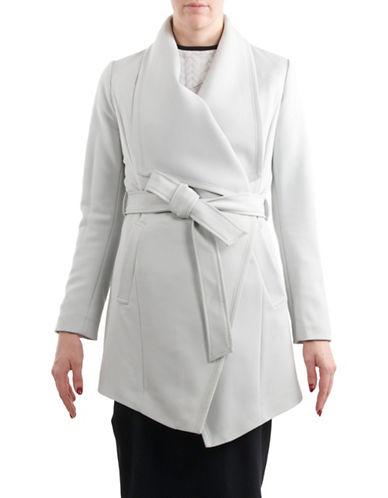 T Tahari Solid Crepe Coat-SILVER-X-Small