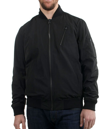 Buffalo David Bitton Faux Memory Bomber Jacket-BLACK-Small 88891583_BLACK_Small