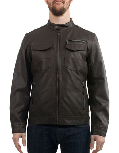 Buffalo David Bitton Faux-Leather Moto Jacket-BROWN-X-Large