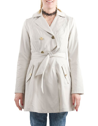 Laundry By Shelli Segal Skirted Trench Coat-BEIGE-X-Large