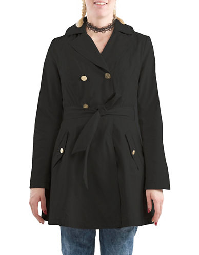 Laundry By Shelli Segal Skirted Trench Coat-BLACK-Small