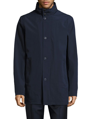 Black Brown 1826 Matte Stretch Twill Rain Jacket-BLUE-46 Tall