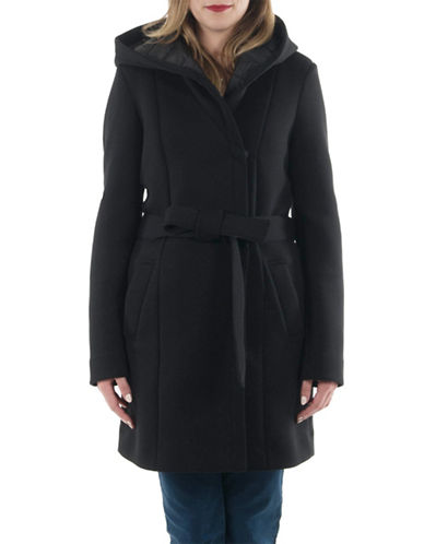 Laundry By Shelli Segal Essential Neoprene Wrap Coat-BLACK-X-Small